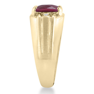 2 1/4ct Created Ruby and Diamond Men's Ring Crafted In Solid Yellow Gold