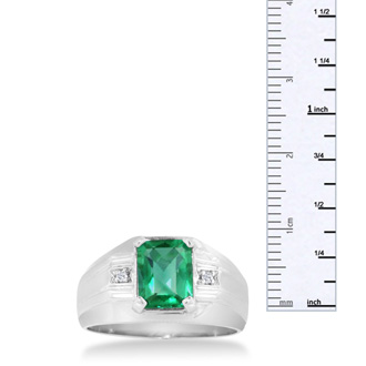 2 1/4ct Emerald Cut Created Emerald and Diamond Men's Ring Crafted In Solid White Gold