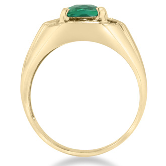 2 1/4ct Created Emerald and Diamond Men's Ring Crafted In Solid 14K Yellow Gold