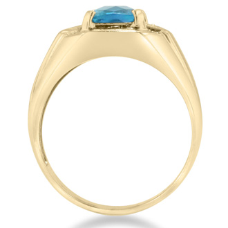 2 1/4ct Blue Topaz and Diamond Men's Ring Crafted In Solid Yellow Gold