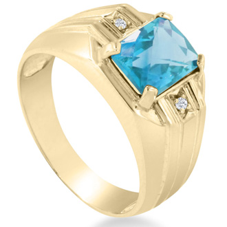 2 1/4ct Blue Topaz and Diamond Men's Ring Crafted In Solid 14K Yellow Gold