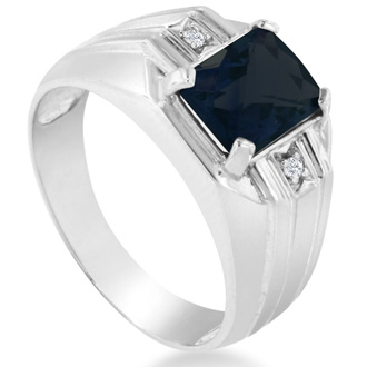 2 1/4ct Created Sapphire and Diamond Men's Ring Crafted In Solid White Gold