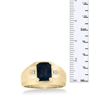 2 1/4ct Emerald Cut Created Sapphire and Diamond Men's Ring Crafted In Solid Yellow Gold