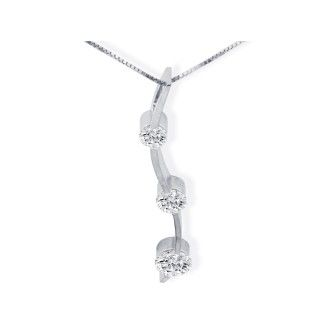 1ct Three Diamond Curve Style Diamond Pendant In 14k White Gold