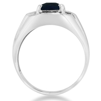 2 1/4ct Created Sapphire and Diamond Men's Ring Crafted In Solid 14K White Gold