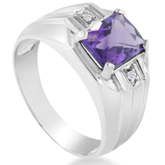 2 1/4ct Amethyst and Diamond Men's Ring Crafted In Solid White Gold