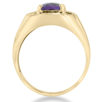 2 1/4ct Emerald Cut Amethyst and Diamond Men's Ring Crafted In Solid Yellow Gold