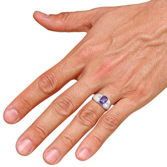 2 1/4ct Emerald Cut Amethyst and Diamond Men's Ring Crafted In Solid 14K White Gold