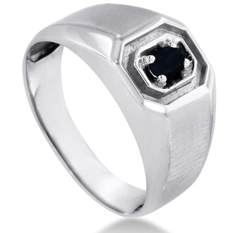 Oval Black Onyx Men's Ring Crafted In Solid White Gold