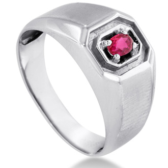 1/4ct Oval Created Ruby Men's Ring Crafted In Solid White Gold