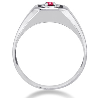 1/4ct Oval Created Ruby Men's Ring Crafted In Solid 14K White Gold