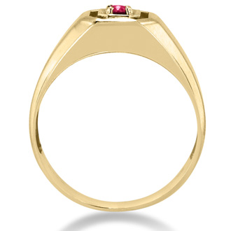 1/4ct Oval Created Ruby Men's Ring Crafted In Solid 14K Yellow Gold