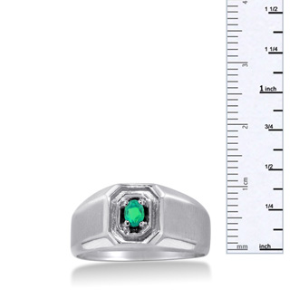 1/4ct Oval Created Emerald Men's Ring Crafted In Solid White Gold