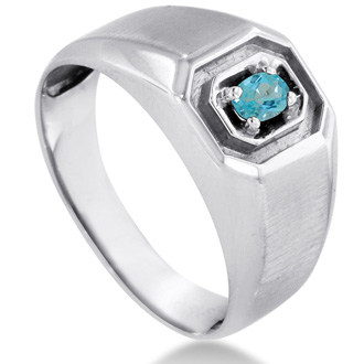 1/4ct Oval Blue Topaz Men's Ring Crafted In Solid 14K White Gold