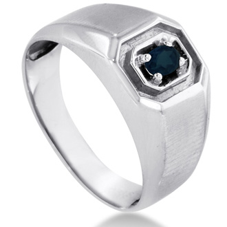 1/4ct Oval Created Sapphire Men's Ring Crafted In Solid White Gold
