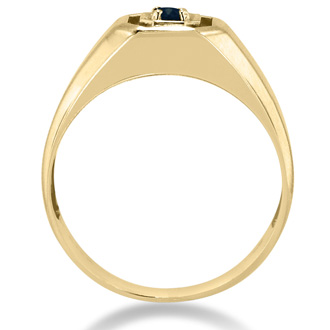 1/4ct Oval Created Sapphire Men's Ring Crafted In Solid Yellow Gold