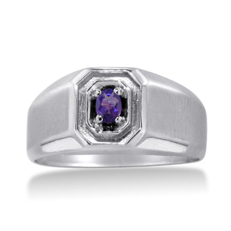 1/4ct Oval Amethyst Men's Ring Crafted In Solid White Gold