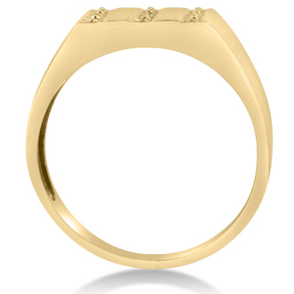 Men's Diamond Ring Crafted In Solid 14K Yellow Gold