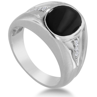 Oval Black Onyx and Diamond Men's Ring Crafted In Solid White Gold