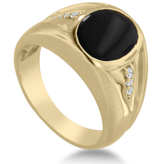 Oval Black Onyx and Diamond Men's Ring Crafted In Solid 14K Yellow Gold