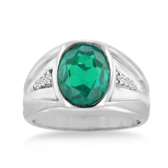 4 1/2ct Oval Created Emerald and Diamond Men's Ring Crafted In Solid White Gold