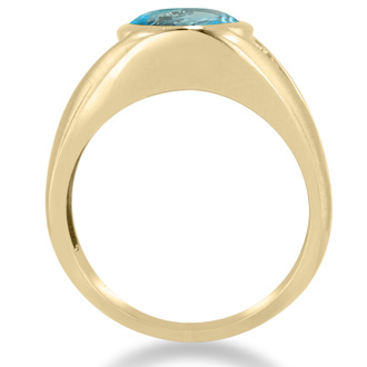 4 1/2ct Oval Blue Topaz and Diamond Men's Ring Crafted In Solid Yellow Gold