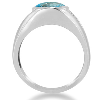 4 1/2ct Oval Blue Topaz and Diamond Men's Ring Crafted In Solid 14K White Gold
