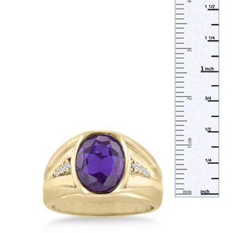 4 1/2ct Oval Amethyst and Diamond Men's Ring Crafted In Solid Yellow Gold