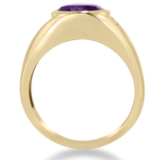4 1/2ct Oval Amethyst and Diamond Men's Ring Crafted In Solid 14K Yellow Gold
