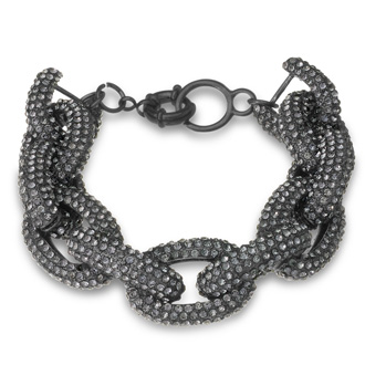 Gunmetal Chain Link Bracelet with Gray Crystals, Fits Wrist Sizes 6-7