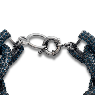 Gunmetal Chain Link Bracelet with Navy Crystals, Fits Wrist Sizes 6-7