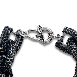 Gunmetal Chain Link Bracelet with Black Crystals, Fits Wrist Sizes 6-7