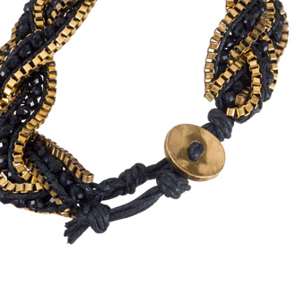 Braided Black Crystal Bracelet with Gold Tone Box Chain Border and Button Closure, Fits Wrist Sizes 6-7