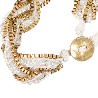 Braided White Crystal Bracelet with Gold Tone Box Chain Border and Button Closure, Fits Wrist Sizes 6-7