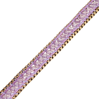 Purple Crystal Wrap Bracelet with Gold Tone Box Chain Border and Button Closure, 22 Inches Long