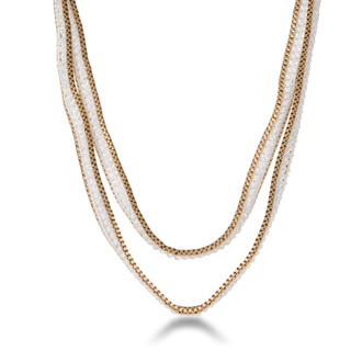 White Crystal Wrap Necklace with Gold Tone Box Chain Border and Button Closure, 40 Inches Long