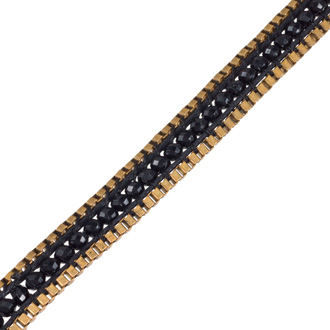 Black Crystal Wrap Necklace with Gold Tone Box Chain Border and Button Closure, 40 Inches Long