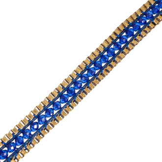 Blue Crystal Wrap Necklace with Gold Tone Box Chain Border and Button Closure, 40 Inches Long
