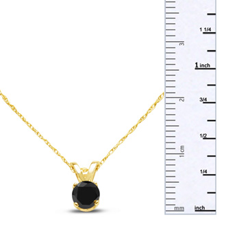 1/4ct Black Diamond Solitaire Pendant In 10k Yellow Gold