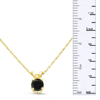 1/3ct Black Diamond Solitaire Pendant in 10k Yellow Gold
