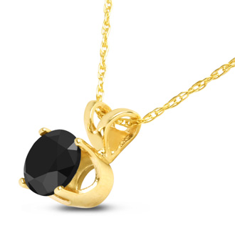 1/2ct Black Diamond Solitaire Pendant in 10k Yellow Gold