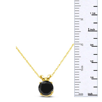 3/4ct Black Diamond Solitaire Pendant in 10k Yellow Gold