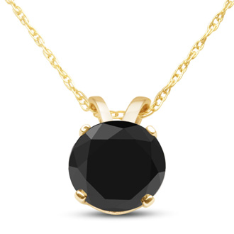 1ct Black Diamond Solitaire Pendant in 10k Yellow Gold