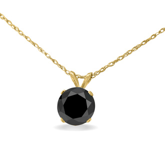 1 1/2ct Black Diamond Solitaire Pendant in 14k Yellow Gold