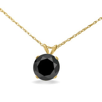 2ct Black Diamond Solitaire Pendant in 14k Yellow Gold