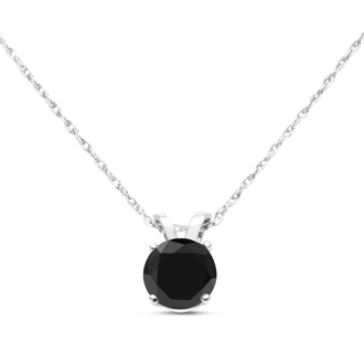 1/2ct Black Diamond Solitaire Pendant in Sterling Silver