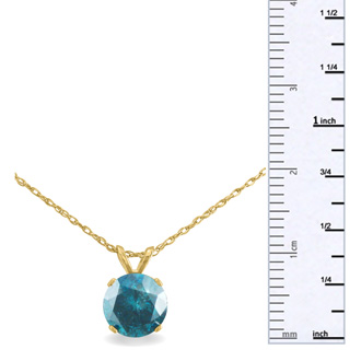 1 1/2ct Blue Diamond Solitaire Pendant, 14k Yellow Gold