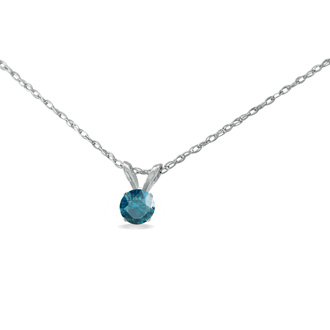 1/5ct Blue Diamond Pendant in Sterling Silver