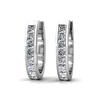 Huggy Style 1 1/4ct Diamond Hoop Earrings Crafted In Solid 14 Karat White Gold