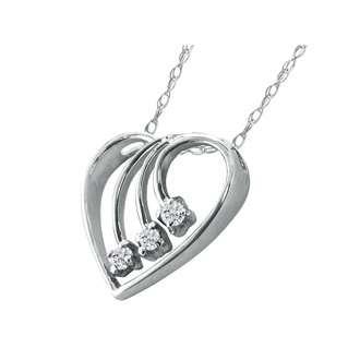 Fine Diamond Spray Heart Pendant, 14k White Gold